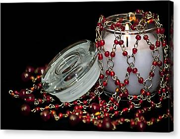Candle And Beads Canvas Print by Carolyn Marshall