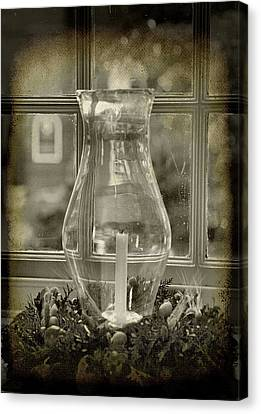 Candle And Window Canvas Print by Steven Ainsworth