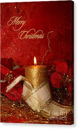 Candle Light Christmas Card Canvas Print by Aimelle
