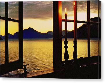 Canvas Print featuring the photograph Candles In The Window by Michael Dohnalek