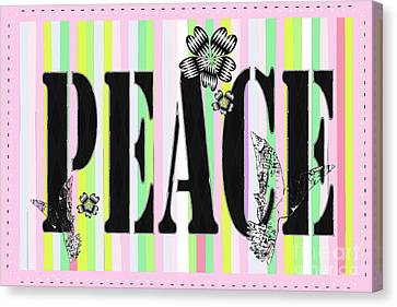 Candy Stripe Peace Juvenile Licensing Canvas Print by Anahi DeCandy
