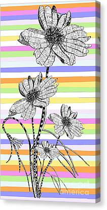 Candy Stripes Happy Flowers Juvenile Licensing Canvas Print by Anahi DeCanio