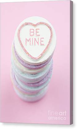 Candy With Be Mine Written On It Canvas Print by Neil Overy