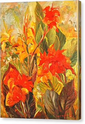 Canna Lilies Canvas Print by Alexandra Maria Ethlyn Cheshire
