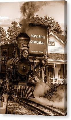 Canvas Print featuring the photograph Cannonball Express In Sepia by Janice Adomeit