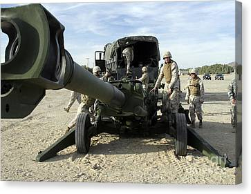 Cannoneers Train With The M777 Canvas Print by Stocktrek Images