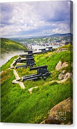 Cannons On Signal Hill Near St. John's Canvas Print by Elena Elisseeva