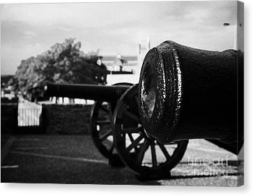Cannons On The Mall Wall And Double Bastion Section Of Derrys City Walls Canvas Print by Joe Fox