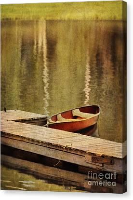 Canoe At Dock Canvas Print by Jill Battaglia