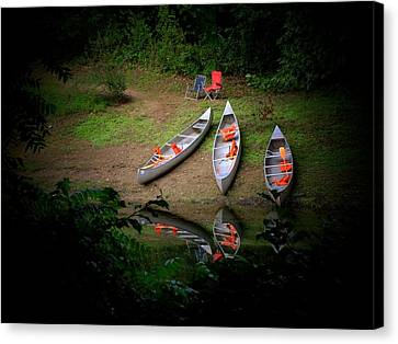 Canoe Bank Canvas Print by Michael L Kimble