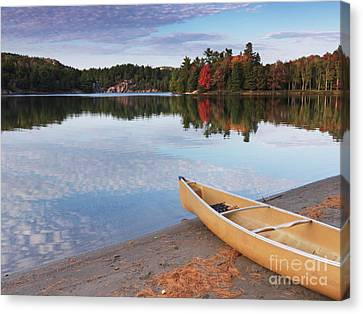 Canoe On A Shore Autumn Nature Scenery Canvas Print by Oleksiy Maksymenko