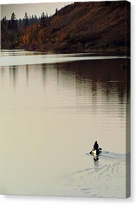 Canoe Tracks Canvas Print by Andrea Arnold