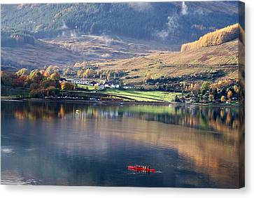 Canvas Print featuring the photograph Canoeing On Loch Goil by Lynn Bolt