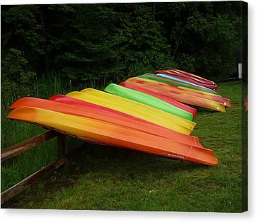 Canoes  Canvas Print by Pamela Turner