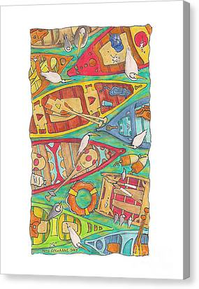 Canoes Canvas Print by Pete Cochrane