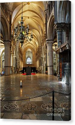 Canterbury Cathedral Aisle Canvas Print by Donald Davis