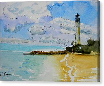 Cape Florida Lighthouse Canvas Print by Warren Thompson