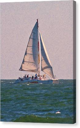 Cape Lookout Sailboat Canvas Print by Betsy Knapp