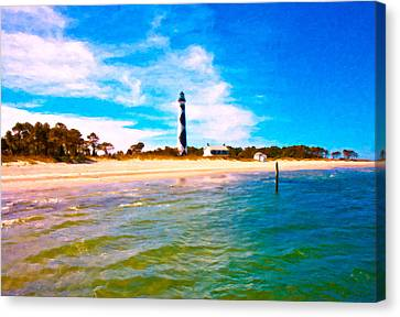 Pleasure Canvas Print - Cape Lookout Shore And Lighthouse by Betsy Knapp