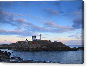 Cape Neddick Nubble Lighthouse Twilight Canvas Print by John Burk