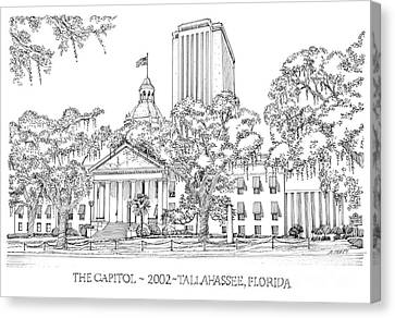 Capitol 2002 Tallahassee Canvas Print by Audrey Peaty