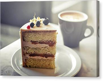 Cappuccino And Cake Canvas Print