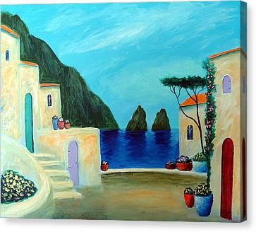 Canvas Print featuring the painting Capri Villa by Larry Cirigliano