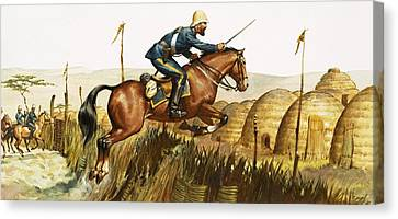 Jumping Horse Canvas Print - Captain Beresford In The Zulu Wars by James Edwin McConnell
