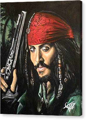 Captain Jack Sparrow Canvas Print by Tom Carlton