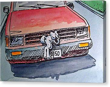 Got Milk Car Hood Sketchbook Project Down My Street Canvas Print by Irina Sztukowski