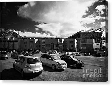 car park at Celtic Park parkhead stadium home of Glasgow Celtic FC Scotland UK Canvas Print by Joe Fox