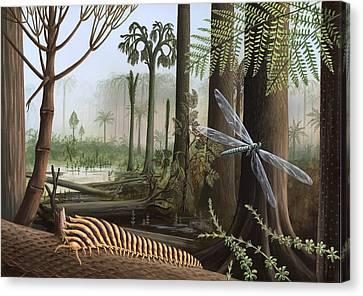 Meganeura Canvas Print - Carboniferous Insects, Artwork by Richard Bizley