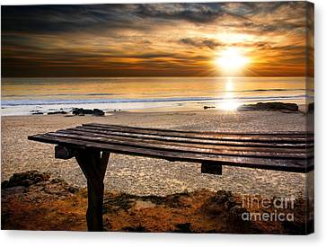 Old Plank Tables Canvas Print - Carcavelos Beach by Carlos Caetano