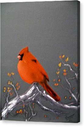 Canvas Print featuring the painting Cardinal by Al  Johannessen