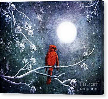 Cardinal On A Wintry Night Canvas Print