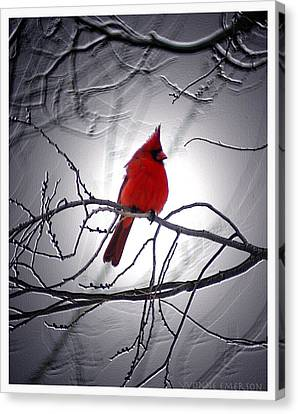 Canvas Print featuring the photograph Cardinal by Yvonne Emerson AKA RavenSoul