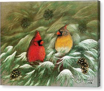 Cardinals In Winter Male And Female Cardinals Canvas Print by Judy Filarecki