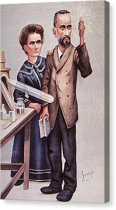 Caricature Of Pierre And Marie Canvas Print by Everett