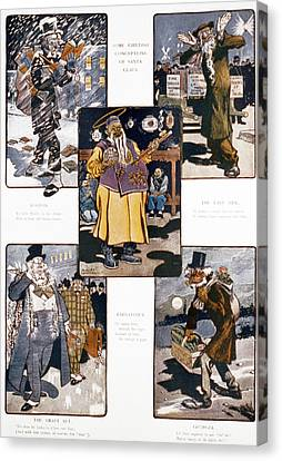 Caricatures During Christmas, Title Canvas Print by Everett