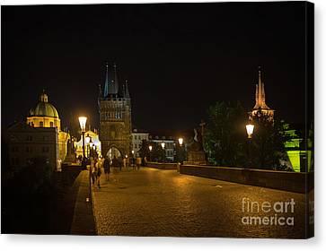 Carls Bridge Prague By Night Canvas Print