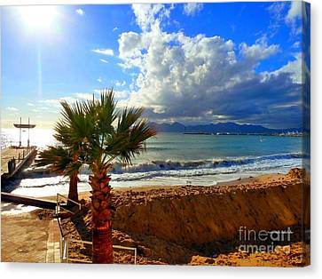 Carlton Beach Cannes Canvas Print by Rogerio Mariani