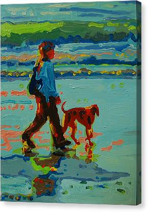 Carmel Beach Sunset Dog Walk Canvas Print by Thomas Bertram POOLE
