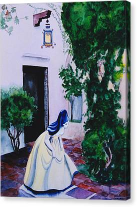Carmel California Courtyard Canvas Print by Eve Riser Roberts