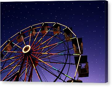 Carnival Ferris Wheel Against Starry Night Sky Canvas Print by Heather Cate Photography