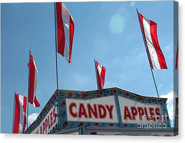 Carnival Festival Fair Candy Apples And Flag Stand Canvas Print by Kathy Fornal