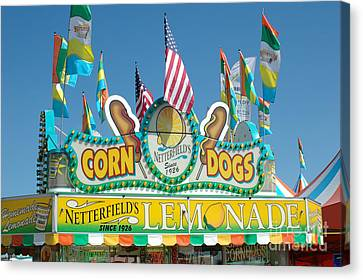 Carnival Festival Fun Fair Corn Dog Lemonade Stand Canvas Print by Kathy Fornal