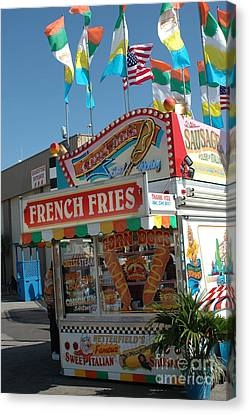 Carnival Festival Fun Fair French Fries Food Stand Canvas Print by Kathy Fornal