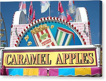 Carnivals Fairs And Festival - Caramel Apples Sign Canvas Print by Kathy Fornal