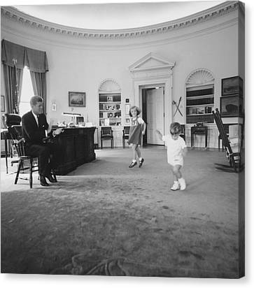 Caroline And John Jr. Dance In The Oval Canvas Print