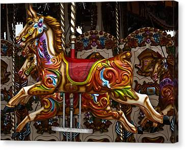 Canvas Print featuring the photograph Carousel Horses by Steve Purnell